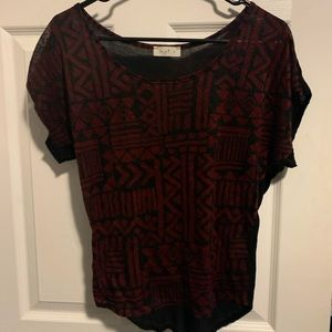Love J Black & Red Printed tee size Small